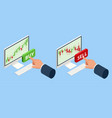 isometric investing and stock market gain and vector image