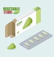 Lettuce pills in pack Vegetarian vitamins Diet vector image