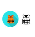 life jacket icon in flat style art vector image vector image