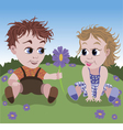 little boy giving flower to girl vector image vector image