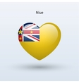 Love Niue symbol Heart flag icon vector image vector image