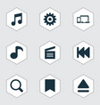 media icons set with previous movie clap gadget vector image vector image