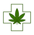 medical cross with cannabis leaf vector image vector image