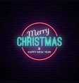 merry christmas and a happy new year neon vector image vector image
