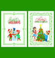 merry christmas holidays children playing outdoors vector image vector image