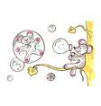 mouse lets bubbles blow vector image