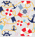 nautical seamless pattern sea marine vector image vector image