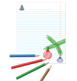 Paper note with colored pencils vector image vector image