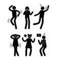 people having fun birthday party set human dancing vector image vector image