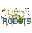 robots logo text isolated on white background vector image