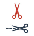scissors with cut lines isolated on white vector image vector image