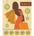 Shopping woman silhouette with sale stickers vector image