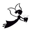 Silhouette tooth fairy flying vector image vector image