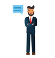 standing businessman with cross arms cartoon flat vector image vector image