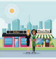 stores at city scenery vector image