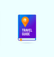travel guide book icon with a map pin and question vector image vector image