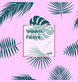 tropical pattern seamless palm leaves background vector image vector image