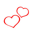 two hearts on valentine s day vector image vector image