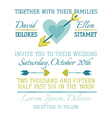 wedding vintage invitation - heart and arrows vector image vector image