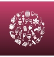 wine icons in circle vector image vector image