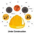 under construction helmet hard work tools icon vector image