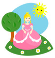 a little princess in a pink dress vector image vector image