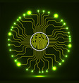 abstract neon sign fingerprint with circuit board vector image vector image