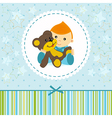 baby boy keep a teddy bear vector image vector image