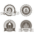 beer and brewery emblems with hop buds vector image vector image