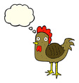 cartoon chicken with thought bubble vector image vector image