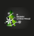 christmas tree cut paper art modern minimal vector image vector image