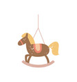 christmas tree vintage horse toy icon flat vector image