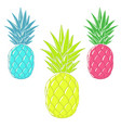 colorful cartoon pineapples vector image vector image