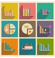 Concept of flat icons with long shadow charts vector image vector image