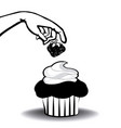 cupcake with strawberry and hand vector image vector image