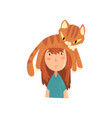 cute girl and her funny cat adorable pet sleeping vector image vector image