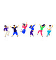 Dancing and fun people positive emotions of