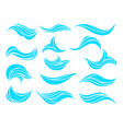 decorative blue ocean or sea waves set for marine vector image