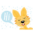 Easter Bunny say Hi Isolated on White vector image vector image