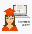 education online with girl laptop and diploma vector image vector image