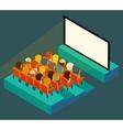 empty cinema screen with audience isometric
