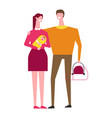 family mother and father with carriage and newborn vector image
