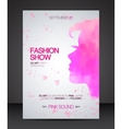 Fashion show flyer with pink watercolor woman vector image