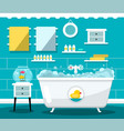 flat design bathroom with bathtub vector image