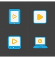 Flat video player icons on dark background vector image vector image