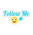 follow me emoji and text thumb sticker vector image vector image