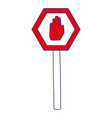 full color metal frame notice with stop sign vector image vector image