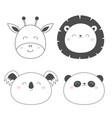 giraffe lion koala panda bear round face head vector image