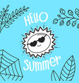 hallo summer concept with sun hand drawn vector image