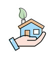 hand with house with ecological leaf to vector image vector image